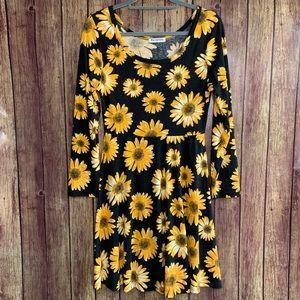 Becanbe Black Floral Long Sleeve A-Line Dress